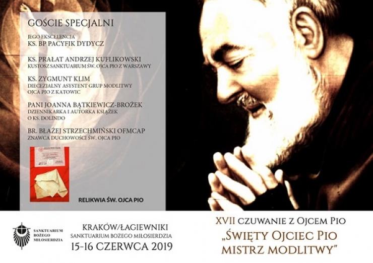 Zaproszenie na Czuwanie z Ojcem Pio w Krakowie Łagiewnikach